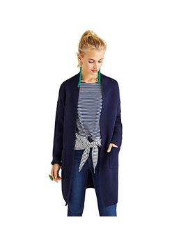 Yumi   Navy Oversized Longline Knitted Cardigan by Yumi
