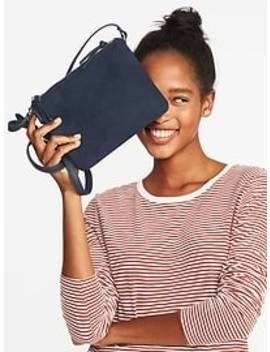 Dual Zip Faux Leather/Faux Suede Crossbody Bag For Women by Old Navy