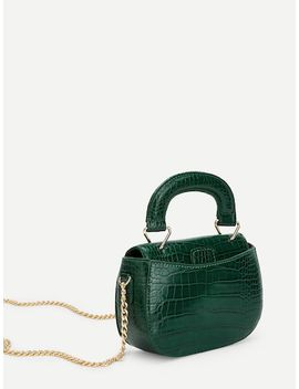 Crocodile Pattern Satchel Bag With Chain by Sheinside