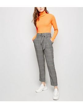 Black Check Tie Waist Trousers by New Look