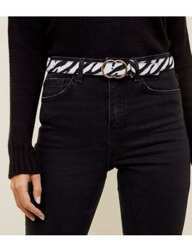 Black Zebra Print Double Circle Buckle Belt by New Look