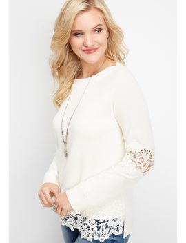Crocheted Hem Pullover Sweatshirt by Maurices