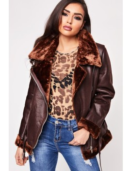 Cassie Chocolate Oversized Aviator Faux Shearling Coat by Misspap