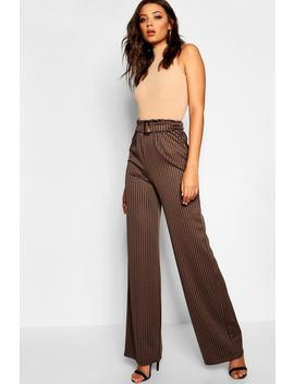 Tall Dogtooth Buckle Detail Trousers by Boohoo
