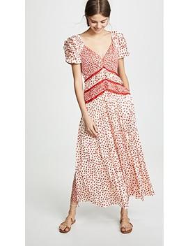dot-satin-printed-dress by self-portrait
