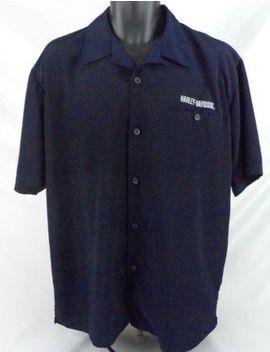 Mens Harley Davidson Hawaiian Ss Button Front Shirt Sz M Blue Dragon Logo by Harley Davidson