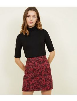 Burgundy Snake Print Denim Skirt by New Look
