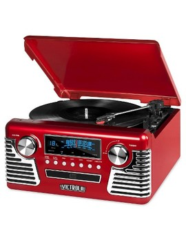 Victrola Retro Record Player  Stereo With Bluetooth And Usb Digital Encoding, Red by Victrola