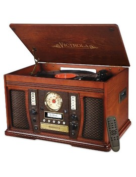 Victrola Aviator Wooden 7 In 1 Nostalgic Record Player With Bluetooth And Digital Cd Encoding, Mahogany by Victrola