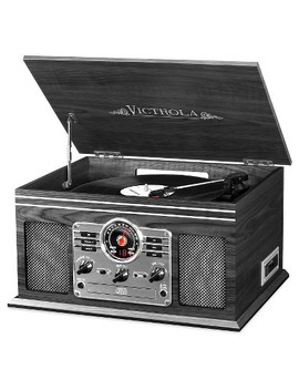 Victrola Wooden 6 In 1 Nostalgic Record Player With Bluetooth And 3 Speed Turntable, Graphite by Victrola