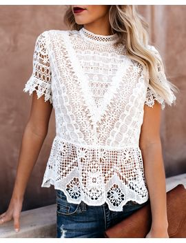 Poetic Crochet Lace Peplum Top   Vintage Ivory by Vici