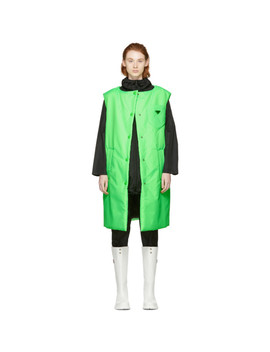 Green Logo Long Padded Vest by Prada