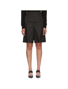 Black Oversized Nylon Shorts by Prada
