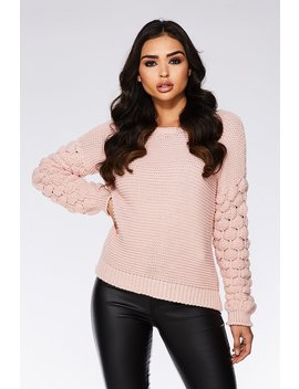 Pale Pink Knit Bubble Sleeve Jumper by Quiz