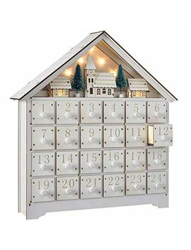 Holiday Decor 35.5cm Pre Lit Wooden Village Scene Christmas Advent Calendar (Color: White) by Holiday Decor