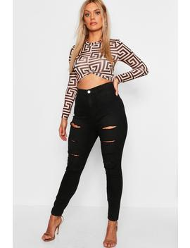 Plus Wash Black Slash Rip Jegging by Boohoo