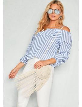 Jenna Blue Stripe Off Shoulder Top by Missy Empire