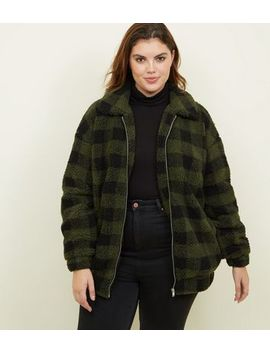 Curves Khaki Check Teddy Bomber Jacket by New Look