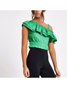 Green One Shoulder Crop Top by River Island