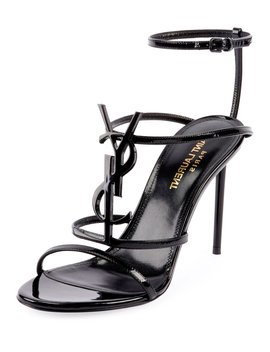 Cassandra Ysl Monogram Patent Sandals by Saint Laurent
