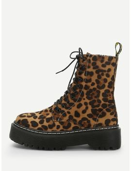 Leopard Print Lace Up Boots by Sheinside