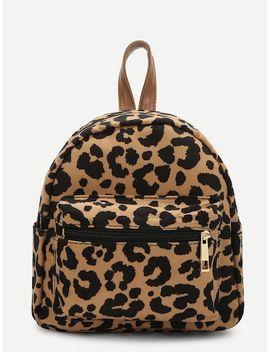 Pocket Front Leopard Pattern Backpack by Sheinside