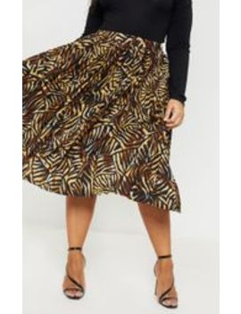 Plus Brown Tiger Print Pleated Midi Skirt by Prettylittlething