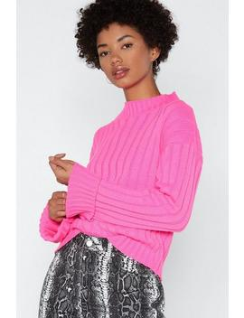 'let's Turn Up' Neon Turtle Neck Jumper by Nasty Gal