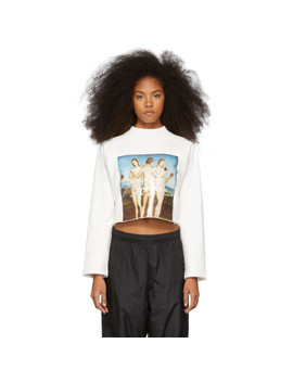 White Three Graces Cropped Sweatshirt by Perks And Mini