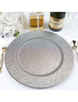 "Efavormart 13"" Round Glitter Acrylic Plastic Charger Plates For Table Decor  Set Of 6 by E Favormart"