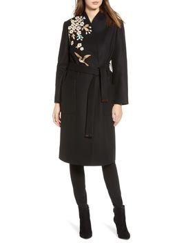 Fennela Embroidered Wool Coat by Ted Baker London