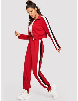 Raglan Sleeve Zip Up Sweatshirt And Sweatpants Set by Shein