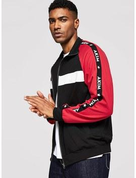 Men Color Block Raglan Sleeve Zip Up Sweatshirt by Shein