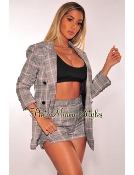 Gray Plaid Pink Striped Boyfriend Blazer Belted Shorts Two Piece Set by Hot Miami Style