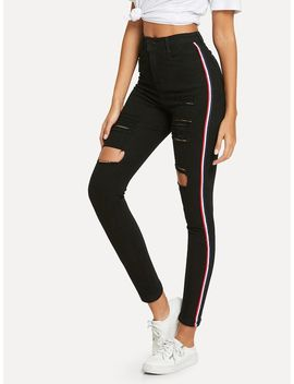 Striped Side Ripped Jeans by Shein