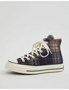 Converse – Chuck 70 Hi – Marineblaue Sneaker Mit Karomuster by Asos