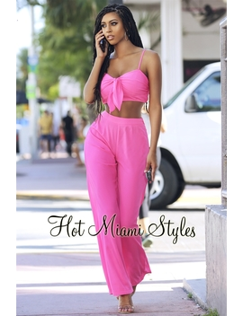 Hot Pink Tie Up High Waist Palazzo Two Piece Set by Hot Miami Style