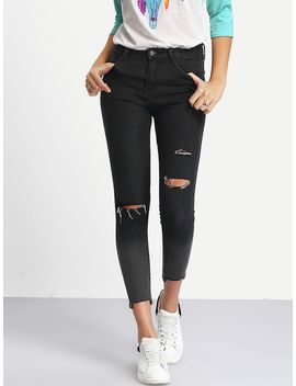 Ombre Ripped Raw Hem Jeans by Shein