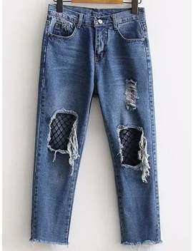 Blue Contrast Mesh Ripped Detail Jeans by Shein