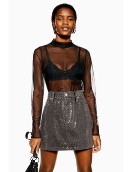 Plain Mesh Funnel Top by Topshop