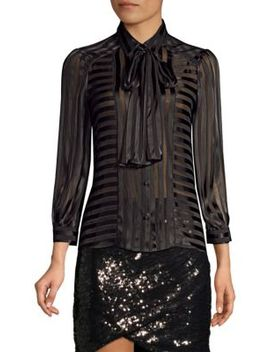 Willis Tie Neck Sheer Stripe Blouse by Alice + Olivia
