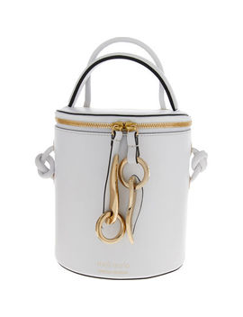 White Severine Bianca Leather Bucket Bag by Meli Melo
