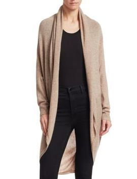 Long Curved Hem Cashmere Cardigan by Theory