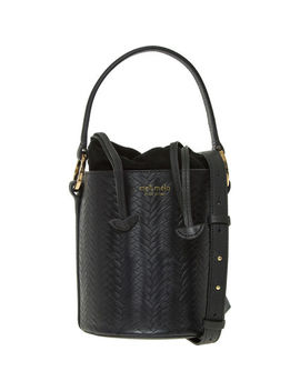 Black Woven Mucket Bag by Meli Melo