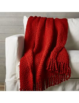 Cozy Weave Red Throw by Crate&Barrel