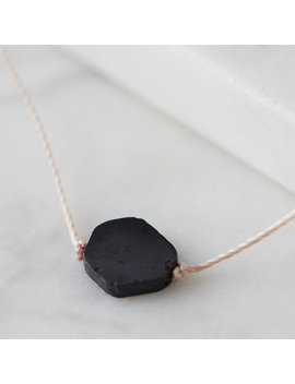 Petite Black Tourmaline Chunk Necklace by Terrain
