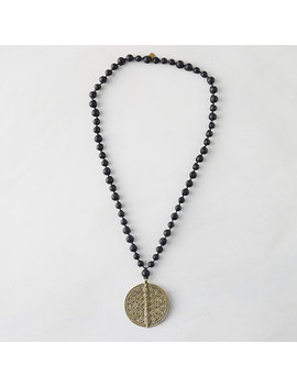Onyx Bead + Brass Pendant Necklace by Terrain