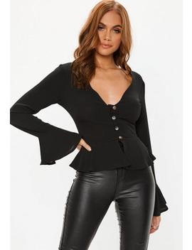 Black Crepe Horn Button Peplum Blouse by Missguided