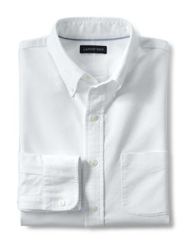 Men's Big And Tall Traditional Fit Buttondown Solid Sail Rigger Oxford Shirt by Lands' End