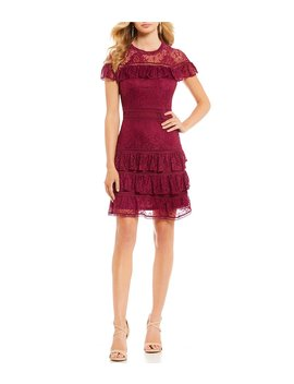 Sandra Ruffle Lace Dress by Gianni Bini